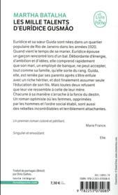 Les mille talents d'Euridice Gusmao - 4ème de couverture - Format classique