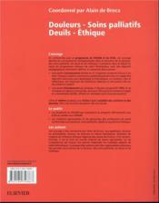 Douleurs - soins palliatifs - deuils - éthique - 4ème de couverture - Format classique
