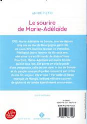 Le sourire de Marie-Adélaïde - 4ème de couverture - Format classique