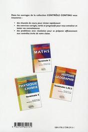 Controle Continu ; Economie-Droit ; Terminale Stg - 4ème de couverture - Format classique