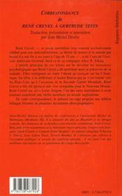 Correspondance De Rene Crevel A Gertrude Stein - 4ème de couverture - Format classique