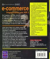 Solutions.Net Commerce Prog Avec Asp 3 - 4ème de couverture - Format classique