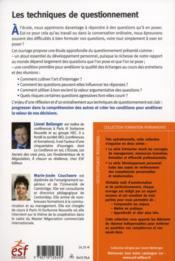 Les techniques de questionnement ; poser et se poser les bonnes questions - 4ème de couverture - Format classique