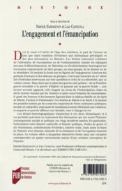 L'engagement et l'émancipation ; ouvrage offert à Jacqueline Sainclivier - 4ème de couverture - Format classique