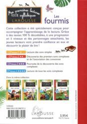 Mes premières lectures 100 % syllabiques larousse ; les fourmis - 4ème de couverture - Format classique