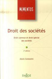 Droit des sociétés ; droit commun et droit spécial des sociétés - Intérieur - Format classique