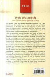 Droit des sociétés ; droit commun et droit spécial des sociétés - 4ème de couverture - Format classique