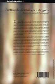 Le portrait des festivaliers d'Avignon - 4ème de couverture - Format classique