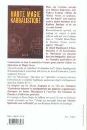 Haute Magie Kabbalistique - 4ème de couverture - Format classique