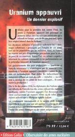 Uranium Appauvri - 4ème de couverture - Format classique