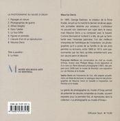 MAURICE DENIS, La Photographie au musée d'Orsay - 4ème de couverture - Format classique