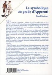 La symbolique au grade d'apprenti - 4ème de couverture - Format classique