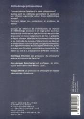 Méthodologie philosophique (3e édition) - 4ème de couverture - Format classique