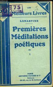 Premieres Meditations Poetiques - Tome 1 - Couverture - Format classique