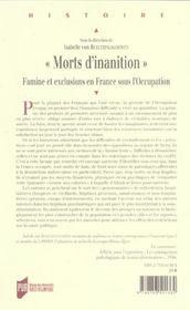 Morts d inanition - 4ème de couverture - Format classique