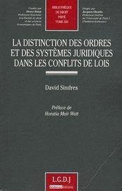 Distinction des ordres et des systèmes juridiques dans les conflits des lois - Couverture - Format classique