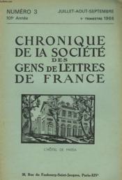 CHRONIQUE DE LA SOCIETE DES GENS DE LETTRES DE FRANCE N°3, 102e ANNEE ( 3e TRIMESTRE 1966) - Couverture - Format classique