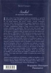 Stendhal Ou Monsieur Moi-Meme - 4ème de couverture - Format classique