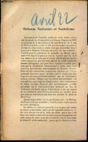 L'AVENIR - extrait de AVRIL 1922 / DEFENSE NAITONALE ET SOCIALISME. - Couverture - Format classique