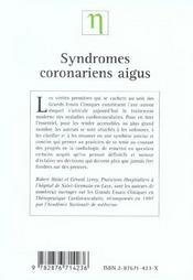 Syndromes Coronariens Aigus Sans Sus-Decalage Persistant Du Segment St ; Les Enseignements Des Grands Esssais Cliniques - 4ème de couverture - Format classique