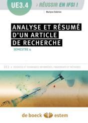 L'analyse et le résumé d'un article de recherche ; UE 3.4, semestre 4 - Couverture - Format classique