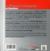 La finance d'entreprise en questions - 4ème de couverture - Format classique