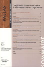 Revue Pallas T.94 ; l'objet dans la tombe en Grèce et en Grande-Grèce à l'âge du fer - 4ème de couverture - Format classique