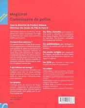 Special Concours ; Magistrat Commissaire De Police - 4ème de couverture - Format classique