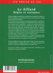 Billard regles et variantes - 4ème de couverture - Format classique