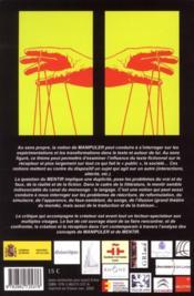 Le créateur et sa critique t.1 ; manipuler, mentir - 4ème de couverture - Format classique