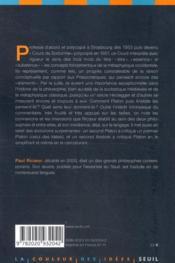 Être, essence et substance chez Platon et Aristote ; cours professé à l'université de Strasbourg en 1953-1954 - 4ème de couverture - Format classique