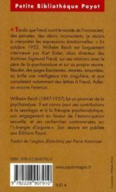 Reich parle de Freud - Couverture - Format classique