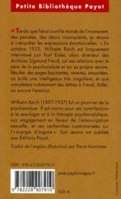 Reich parle de Freud - 4ème de couverture - Format classique