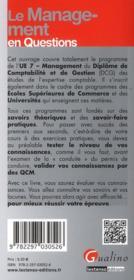 Le management en questions ; programme DCG 7 - 4ème de couverture - Format classique