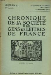 CHRONIQUE DE LA SOCIETE DES GENS DE LETTRES DE FRANCE N°4, 102e ANNEE ( 4e TRIMESTRE 1966) - Couverture - Format classique