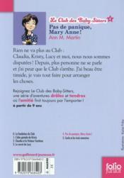Le Club des Baby-Sitters T.4 ; pas de panique, Mary Anne ! - 4ème de couverture - Format classique