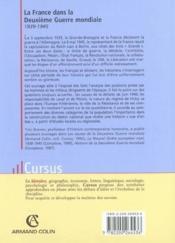 La france dans la deuxieme guerre mondiale 1939-1945 ; 4e edition - Couverture - Format classique