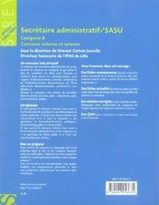 Secretaire administratif / sasu cat. b - 1ere ed. (1re édition) - 4ème de couverture - Format classique