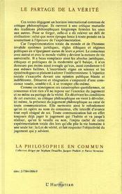 Partage De La Verite Critique Du Jugement Philo - 4ème de couverture - Format classique