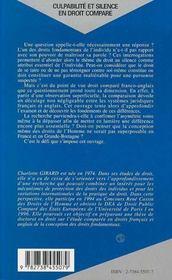 Culpabilite Et Silence En Droit Compare - 4ème de couverture - Format classique