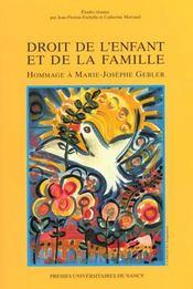 Droit De L'Enfant Et De La Famille ; Hommage A Marie-Josephe Gebler - Intérieur - Format classique