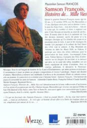 Samson Francois:Histoire De...Mille Vies - 4ème de couverture - Format classique