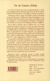 Vie de Césaire d'Arles - 4ème de couverture - Format classique