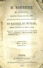 Le Barbier De Seville Opera Bouffon En Deux Actes. - Couverture - Format classique