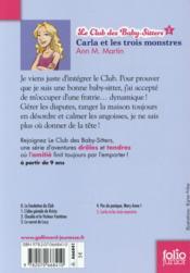 Le Club des Baby-Sitters T.5 ; Carla et les trois monstres - 4ème de couverture - Format classique