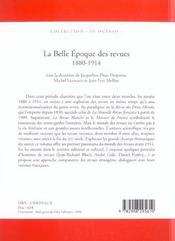 La Belle Epoque Des Revues 1880-1914 - 4ème de couverture - Format classique