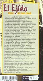 El Ejido Terre De Non Droit - 4ème de couverture - Format classique