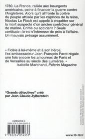 Les enquêtes de Nicolas Le Floch T.9 ; l'honneur de Sartine - 4ème de couverture - Format classique