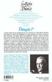 Les rois qui ont fait la France ; les Valois ; François Ier - 4ème de couverture - Format classique