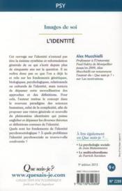 L'identité (9e édition) - 4ème de couverture - Format classique
